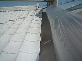 屋根瓦塗装時の養生
