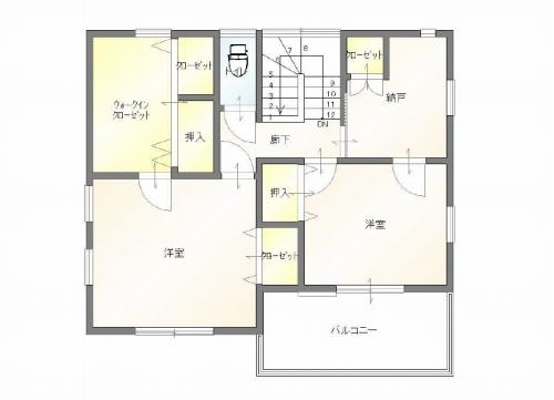 高田町・中古住宅の2階間取り図