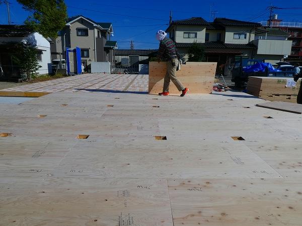 床の構造用合板敷き