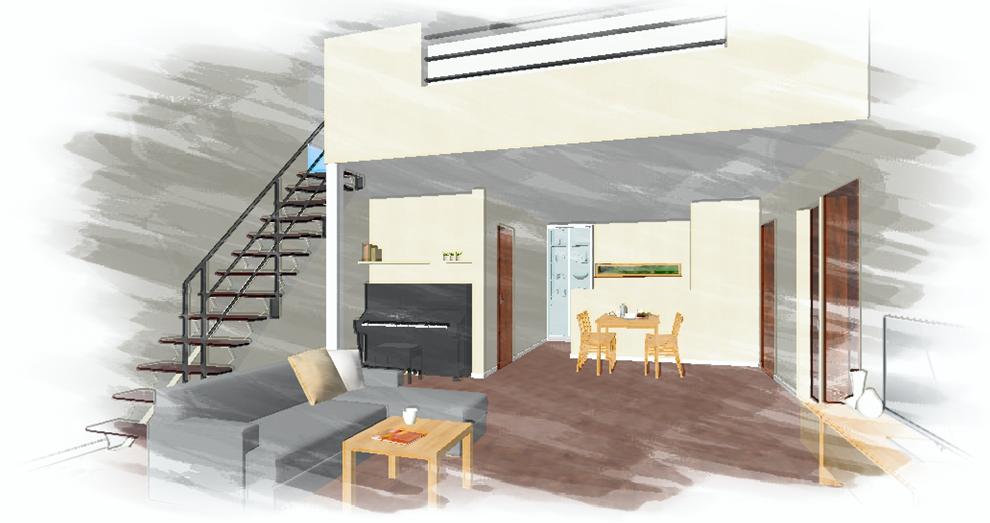 「オープン階段と吹抜けの家」イメージパース